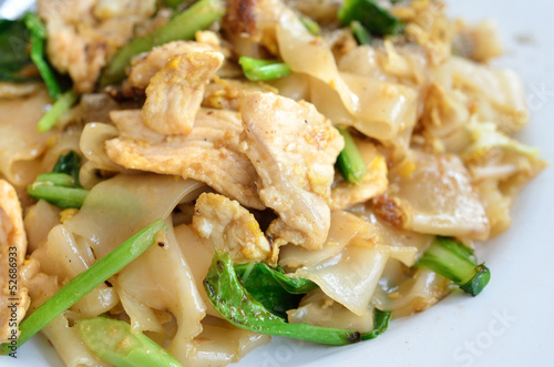Stir Fried Rice Noodle with egg and pork, Thai food