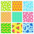 set of seamless patterns for summer