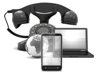 Communication symbols - phone and internet