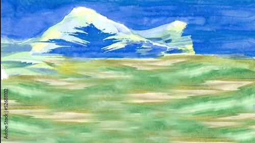 Spring in the Mountains. Drawing of watercolor painting.
