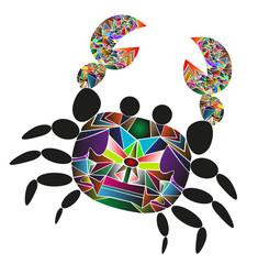 granchio vettoriale disegnato come un puzzle