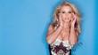 Sensual Blond Woman Posing on Blue Background