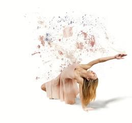 Dancer paints the white