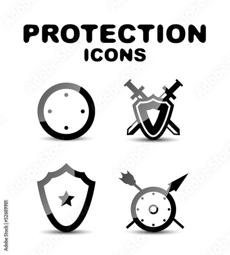 Black glossy protection icon set