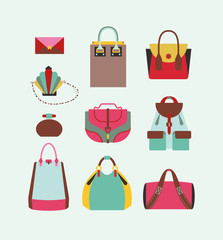 collection of woman bags