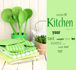 Kitchen settings: utensil, potholders, towels and else