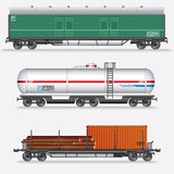Set of Rail Freight Car, Train Waggons.