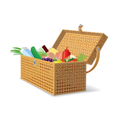 Illustration of Wicker Picnic Basket with Food