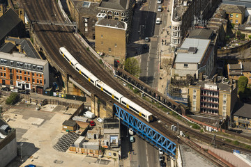 Train on a bridge in London