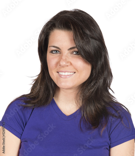 Portrait of pretty brunette woman casual