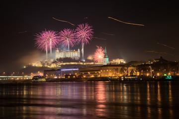 Fireworks over Bratisava