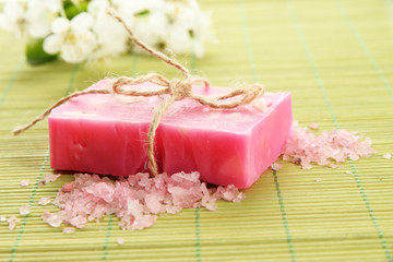 Natural handmade soap on bamboo mat