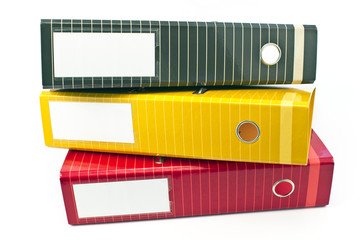 Three colorful  office  folders
