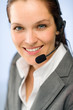 Close up of female support phone operator
