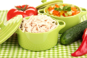 Shredded boiled chicken in green pan close up