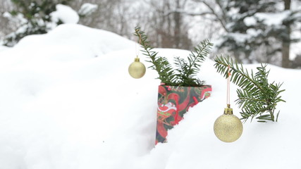 christmas tree toys coniferous branch winter snow