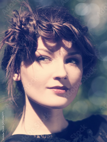 Instagram colorized vintage female portrait with beauty bokeh