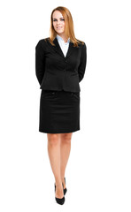 Full length portrait of a businesswoman isolated on white