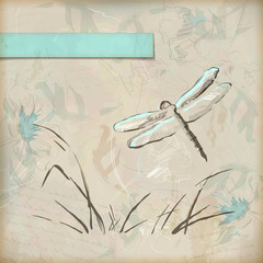 Vintage grunge sketch dragonfly greeting card