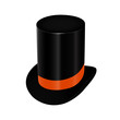 Black top hat with orange ribbon