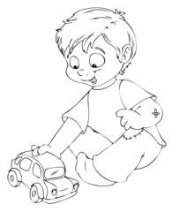 Junge, Kind, Schulkind, spielen, Auto, Spielzeug
