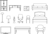 Collection of furniture vector