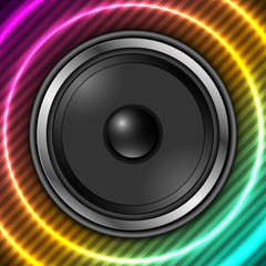 Speaker with abstract colorful background