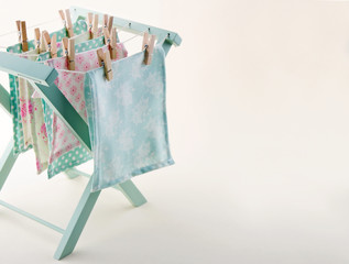 Closeup of pastel color laundry with copy space