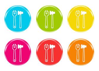 Iconos de colores con herramientas