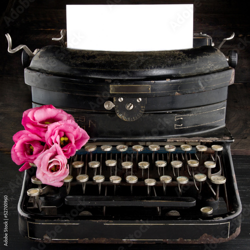 Old antique black vintage typewriter