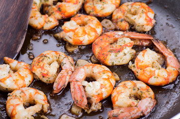 cooking with prawns