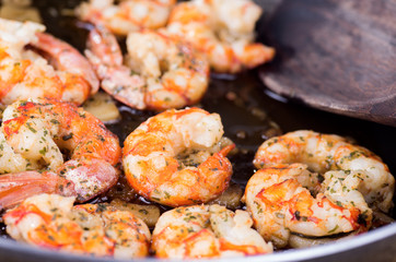 cooking with prawns and garlic