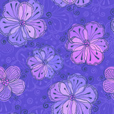 Violet doodle flowers vector seamless pattern