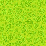 Green foliage cartoon vector seamless pattern