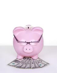 Piggy bank with money.