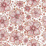 Henna colors vector flowers seamless pattern
