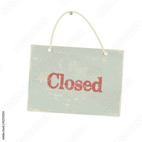 Vintage closed sign. Vector