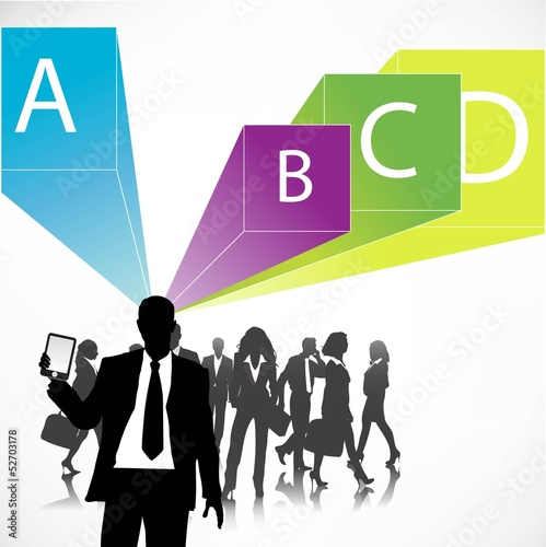 Template of a group business and office people