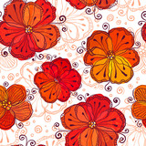 Red and white doodle flowers vector pattern