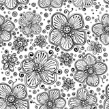 Black and white ink painted vector flowers