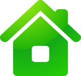 Green eco house vector icon