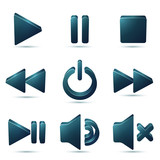 Black vector plastic navigation symbols set