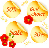 Vector golden sale stickers isolated set