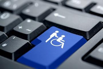 Rollstuhl blaue Taste