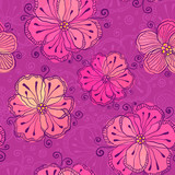Purple doodle flowers vector seamless pattern