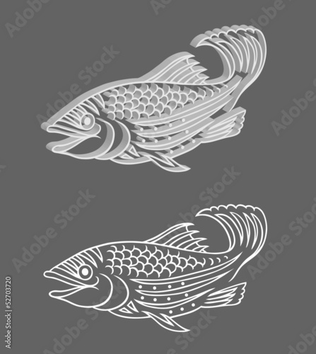 Fish Relief 3 dimension and original drawing vector