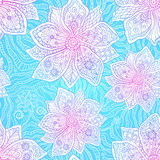 Blue and pink colors ornate flowers vector