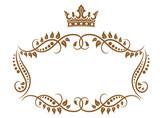 Elegant royal medieval frame with crown
