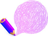Violet cartoon pencil with doodle speech bubble