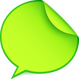 Green paper speech bubble sticker